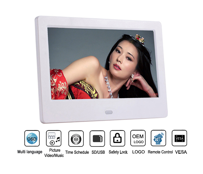 7 inch LCD digital photo frame with hd video input