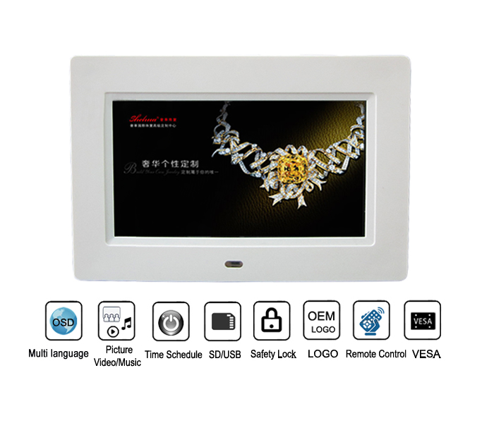 7inch cheap digital photo frame ultra thin with ads player