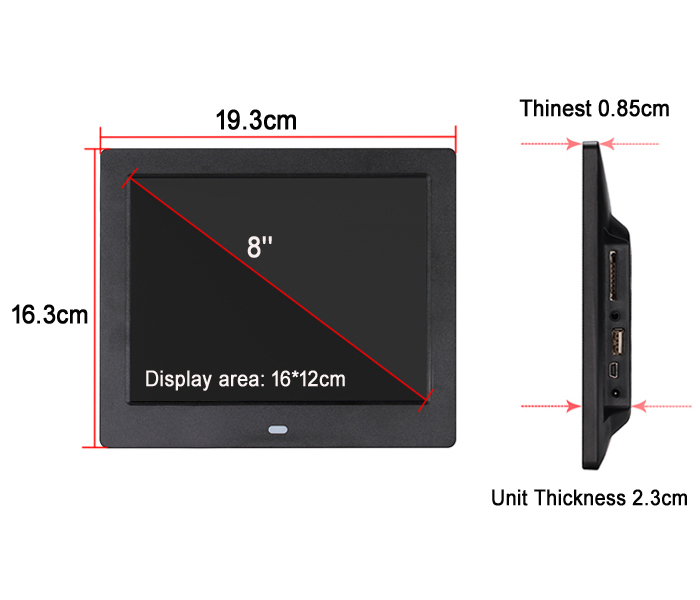 8 Inch Wifi Wall Mount Digital Photo Frame Usb Flash Drive