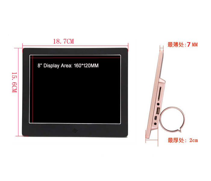 8Inch Aluminum Case Electronic Picture Frame With Video Input