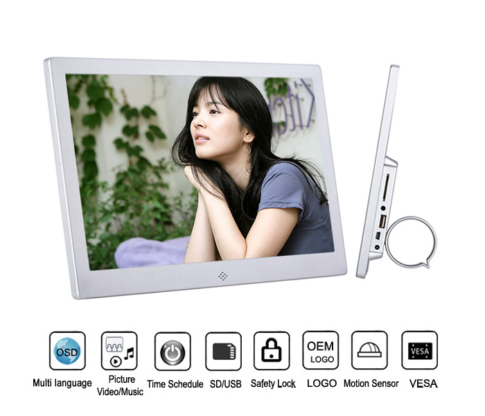 12 Inch Wall Mount Digital Photo Frame With Loop Video