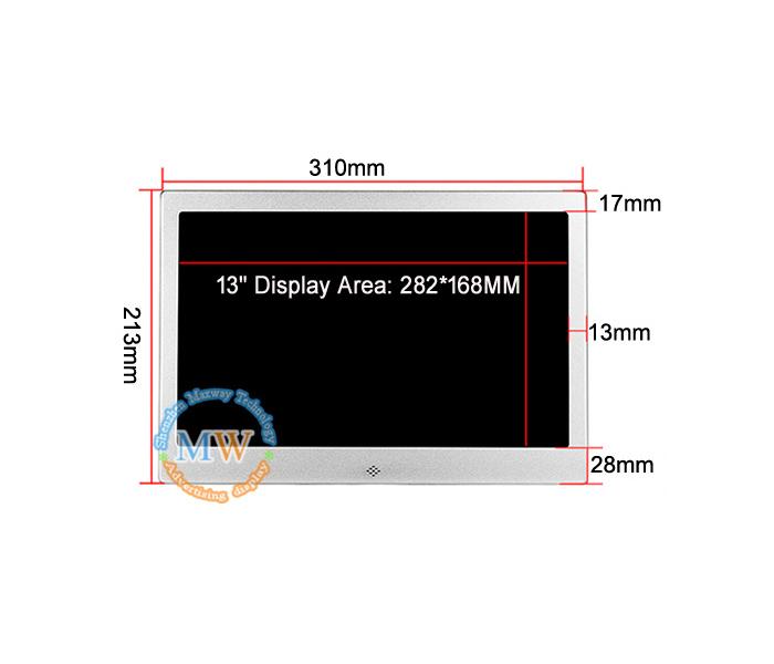 13 Inch Aluminum Digital Photo Frame With Custom Oem