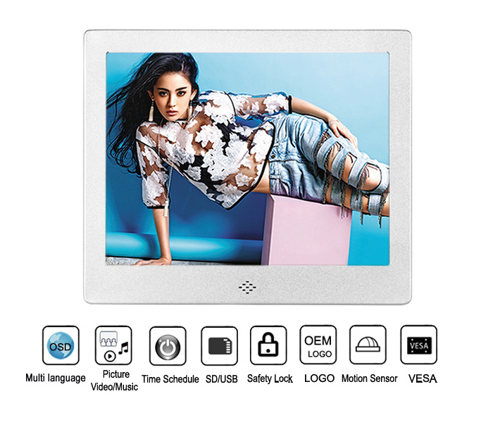 8Inch Square Digital Photo Frame With USB Flash Drive