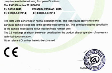New certificates of CE, ROHS, FCC for all serials