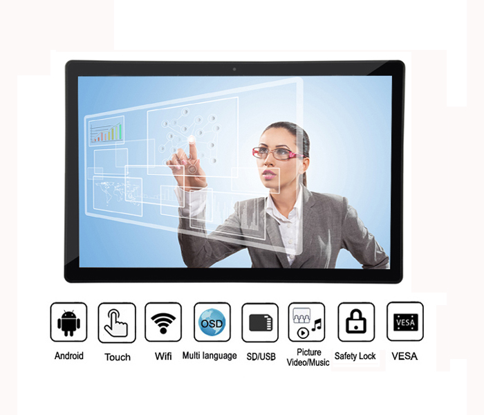 Touch Screen Wifi Android 21Inch High Definition Ips Lcd Digital Photo Frame With Front Camera