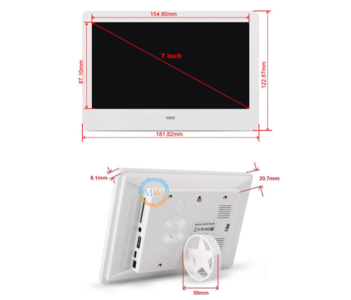7inch digital picture frame battery powered optional