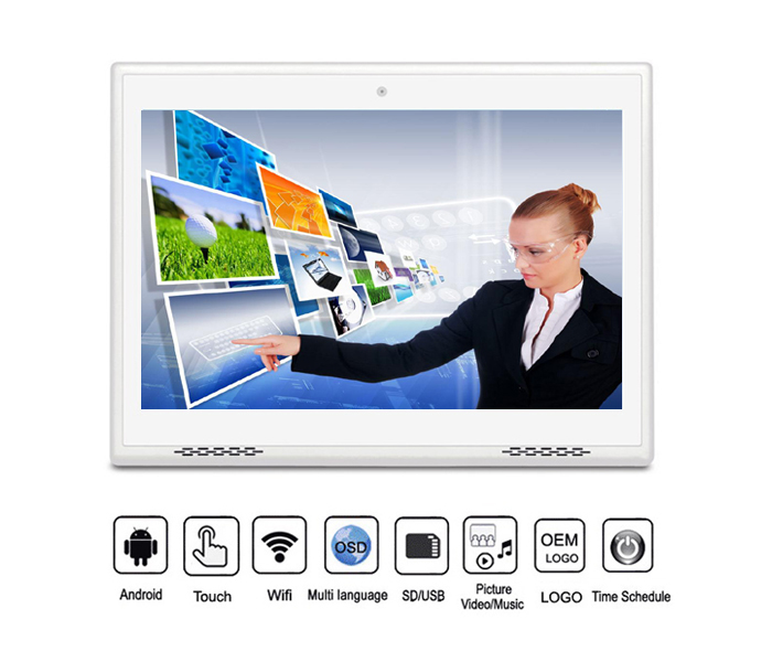 Black Small Size 10.1 Inch Indoor Android Wifi Touch Screen Lcd Digital Photo Frame