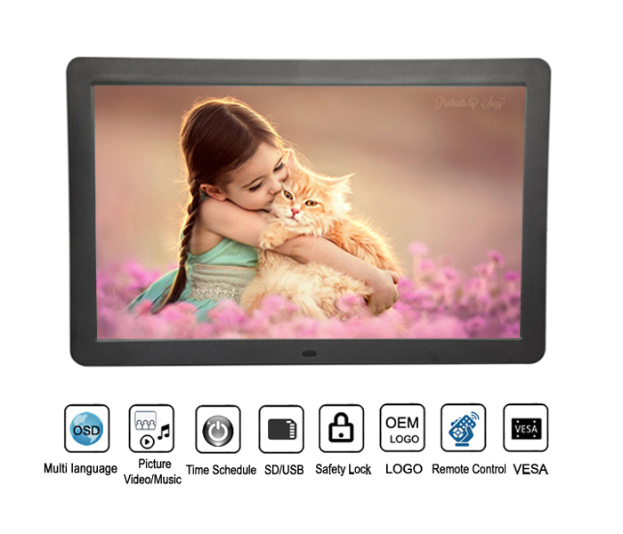 Slim 18Inch Music MP3 MP4 Loop Video Digital Photo Frame With Remote Control